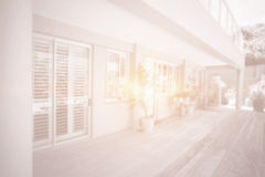 Front of modern house with bright light Stock Image