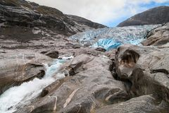 Front Moraine of the Nigardsbreen Glacier Royalty Free Stock Images