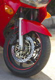 Front motorcycle wheel. Closeup view stock photography