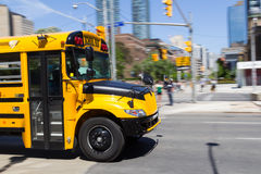 Front of a Moving School Bus Stock Photography