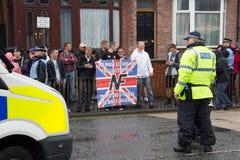 Front Narodowy demonstracja z wielką obecnością policji Zdjęcia Royalty Free