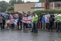 Front Narodowy demonstracja z wielką obecnością policji Obrazy Royalty Free