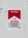 Front national vous enfume, The national front smokes you sticke. STRASBOURG, FRANCE - MAY 7, 2017: Sticker with messageainst Front National in France - Le front Royalty Free Stock Photos