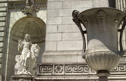 Front of New York Public Library. With statue and vase shown.  Taken in New York City, USA Royalty Free Stock Image