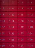 The front number of red locker. Royalty Free Stock Image