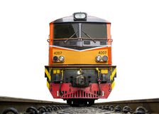 Front Of Train Led By Yellow Diesel Electric Locomotives On The Tracks Royalty Free Stock Photo