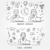 Front office and call center concept icon thin line for web and Stock Photo