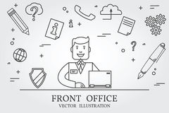 Front office. Think line icon. Vector. Royalty Free Stock Photos