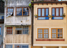 Front of old buildings in Llanes Stock Photography
