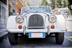 Front of an old car. With blurred background and vigniete Stock Photo