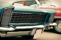 Front of old car, retro. Front of old blue car, sixties style, retro Stock Photo