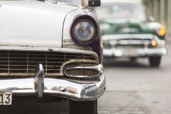 Front of old car on street of Havana, Cuba Stock Images