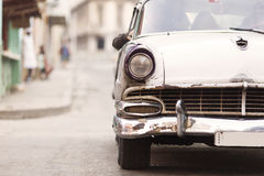 Front of old car on street of Havana, Cuba Royalty Free Stock Photography