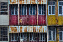 The front of the old commercial building with colorful Royalty Free Stock Image