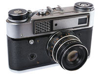 Front of old  photo camera. Isometric view. Royalty Free Stock Photo