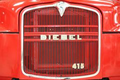 Front of old red Diesel truck royalty free stock images