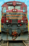Front of a a old train locomotive. The Front of a a old train locomotive Royalty Free Stock Photo