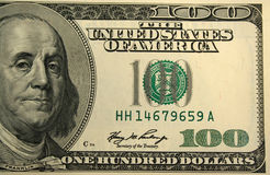 Front of a one hundred dollar bill background. A Front of a one hundred dollar bill background Stock Photos