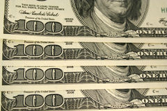 Front of a one hundred dollar bill background. A Front of a one hundred dollar bill background Royalty Free Stock Photography