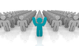 In Front of the Pack. An individual standing at the front of the group with arms raised to stand out Stock Photography