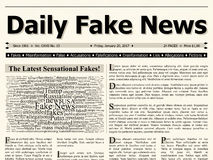 Front page of daily fake news mainstream newspaper title headline Royalty Free Stock Image