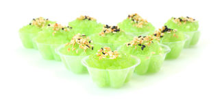 Front of pandan flavored sweet translucent Royalty Free Stock Image