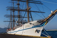 Front Panorama of japanese Sailing Ship Nippon Maru 1984 in the Harbour of Beppu. Oita Prefecture, Japan royalty free stock image