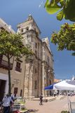 Front of the Parroquia San Pedro Claver Cartagena royalty free stock images
