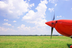 The front part of the aircraft with a propeller. Royalty Free Stock Images