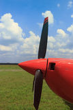 The front part of the aircraft with a propeller. Stock Photos