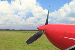The front part of the aircraft with a propeller. Royalty Free Stock Image