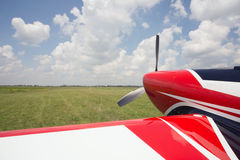 The front part of the aircraft with a propeller. Stock Photography