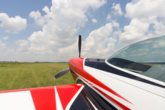 The front part of the aircraft with a propeller. Royalty Free Stock Photo