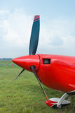 The front part of the aircraft with a propeller. Stock Image