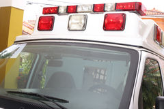 Front part of an ambulance looking for the patient Stock Photos