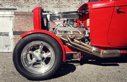 Front part of a classic red hot rod Royalty Free Stock Image