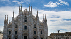 The front part of Duomo cathedral in Milan Stock Photos