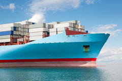 Front part of a large container ship. At sea stock images