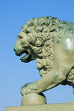 The front part of the lion sculpture near the Palace bridge closeup. Saint Petersburg Royalty Free Stock Image