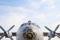 Front part of the military transport aircraft An-12 Royalty Free Stock Photos