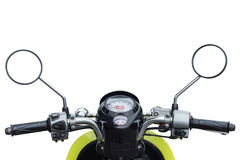 Front part of modern motorcycle view from rider Royalty Free Stock Image