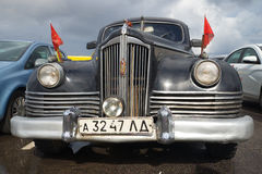 Front part of the postwar soviet executive car ZIS-110 in 1945 closeup. Festival of retro cars in Kronstadt Royalty Free Stock Photo