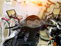 The front part of the scooter. Bike store. Dashboard.  stock photos