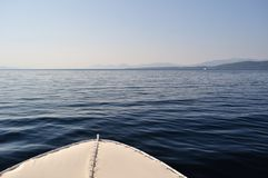Front part of ship with waves on adriatic sea Royalty Free Stock Photography