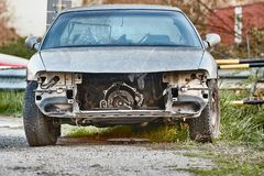 Car Wreck with missing parts stock photography
