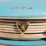 Front of a Peugeot 404 classic car. NETHERLANDS - VUGHT - MAY 20, 2017: Front of a Peugeot 404 classic car at the Lions-Kiwanis VCCR rally Royalty Free Stock Images