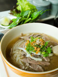Front of Pho Lao style noodle soup Royalty Free Stock Photography