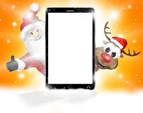 Front phone reindeer santa claus christmas design 3d. Graphic illustration design Royalty Free Stock Photos