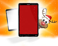Front phone reindeer santa claus christmas design 3d. Graphic illustration design Royalty Free Stock Photo