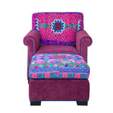 Front of Pink Fabric armchair and stool Royalty Free Stock Photography